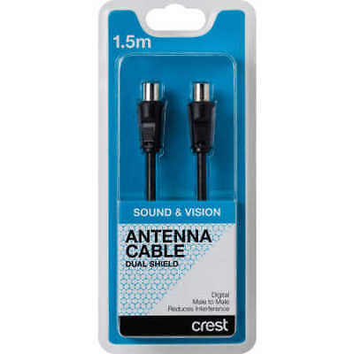 NEW Crest Dual Shield Antenna Cable 1.5 m