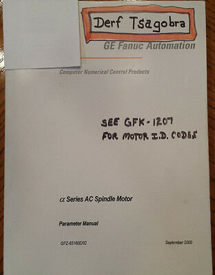 Alpha Series AC Spindle Motor Parameter Manual GFZ-65160E/02 And Supp GFK-1207C