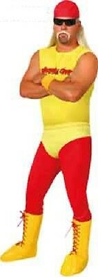 SW Mens Costume Fancy Dress Hulk Hogan Pro Wrestler Hulkamania WWE WWF Adult