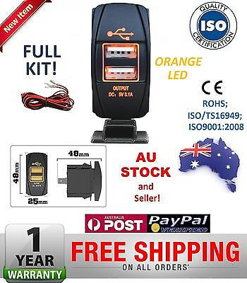 Dual USB Port Car Charger Carling Rocker Switch Landcruiser Prado Nissan ORANGE