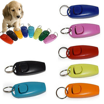 2in1 Pet Dog Puppy Training Clicker + Whistle Button Click Trainer Guide Tool FR