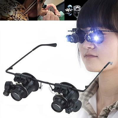 spectacle glasses eye loupe 20x LED Head magnifying glass Magnifier Handsfree GU