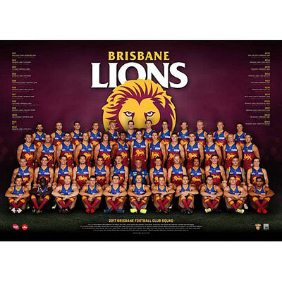 AFL 2017 Team Brisbane Lions POSTER 60x80cm NEW Aussie Football League Players