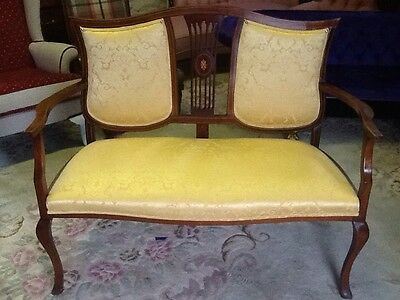 edwardian inlaid two seater settee