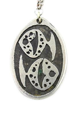 A Swedish 1960's Casi Marbacka Pisces pendant Vintage pewter