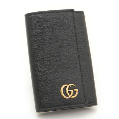 Authentic Gucci Leather Gg Marmont 6 Key Case 435305 Black Grade Ab Used - At