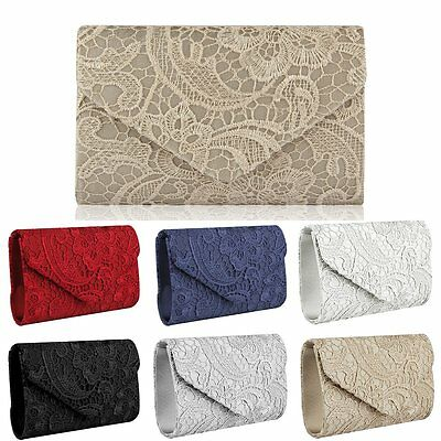 New Women Satin Lace Floral Evening Prom Clutch Bag Wedding Bridal Handbag Purse