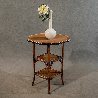 Antique Octagonal Bamboo Table Lamp Side Occasional Victorian c1900