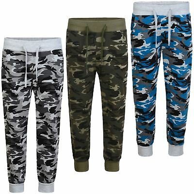 Boys Girls Camouflage Tracksuit Bottoms Kids Teenagers Jogging Sweatpants 3-14 Y