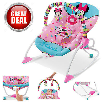 Disney Rocker Bouncer Baby to Toddler Minnie Mouse Swing Vibrating Bouncing Seat