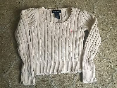 Girls Ralph Lauren White Cable Pullover Ruffled  Sweater Size 5