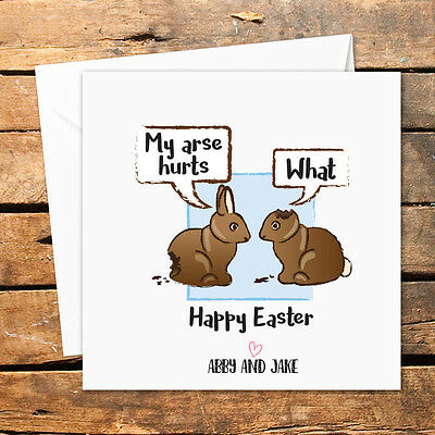 Personalised Handmade Easter Card Funny Rude Naughty Arse Rabbit Bunny Happy