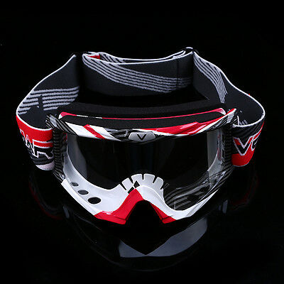 Red & White Clear Goggles Motorcross Motorcycle ATV Bike MX Off Road Glasses
