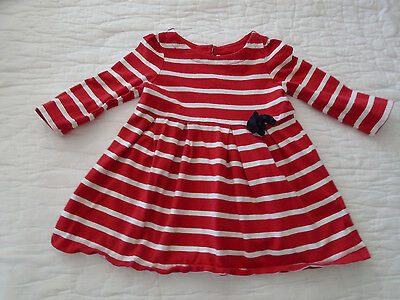 BABY GAP girl Red White Striped Blue Bow play Dress 6-12 mths