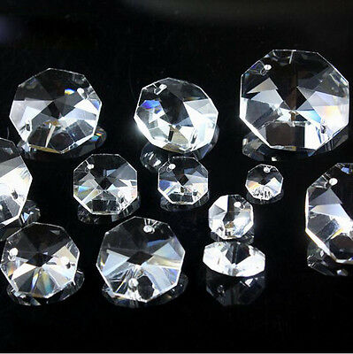 10mm-14mm Clear Crystal Octagon Beads Crystal Chandelier 2Hole Prisms Decoration