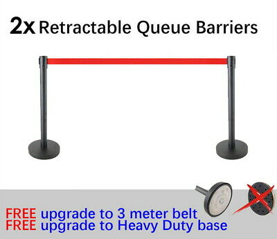 2x Queue Barriers Crowd Control stanchions Steel 3m Retractable Belt Black red