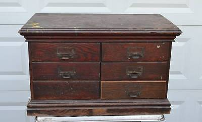 Antique Oak 6 Drawer Rival Letter File Transfer Record Document Cabinet Dick