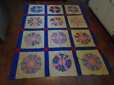 Antique Hand Stitched Quilt Top Dresden Plate Bright Colors Cotton