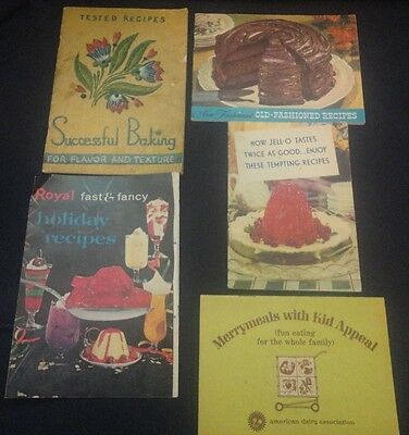 Vintage lot 5 Recipe Booklets Arm & Hammer Successful Baking Royal and Jello-O