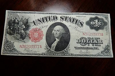 $1 Series 1917  One Dollar Us Note-Crisp! Vf