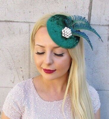 Emerald Green Ivory Peacock Feather Fascinator Hair Clip 1940s Hat Races 2410