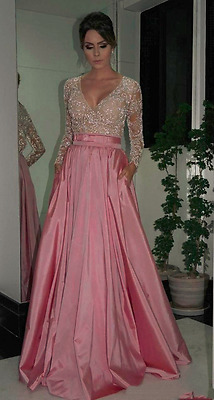 Discounted Prom/Evening Gown - Sequined long sleeve lace gown with pockets