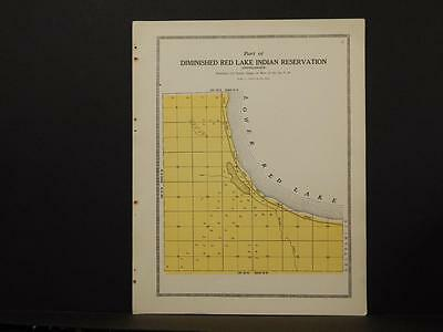 Minnesota Clear Water County Map Red Lake Indian Reservation 1912  Y6#93