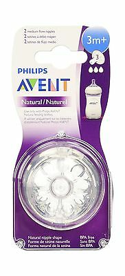 Philips Avent BPA Free Natural Medium Flow Nipples 3 month+ 2 Count