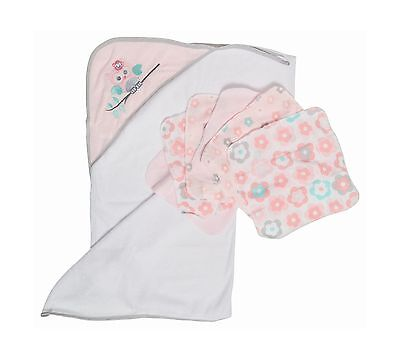 Little Beginnings Owl Print Hooded Towel and Washcloths Gift Set Pink
