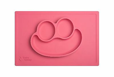Baby Turnip Fun Meal Placemat (Pink) - One-piece Silicone Placemat Baby Plate