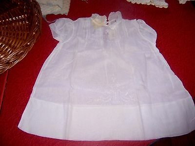 vtg white cotton baby dress   handmade w embroidered  w mop buttons #2