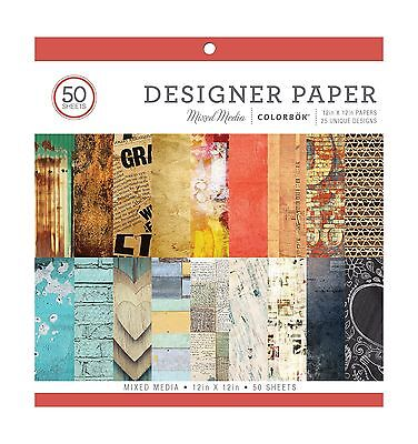 "ColorBok 73470A Designer Paper Pad Mixed Media 12"" x 12"" - NEW FREE SHIPPING"