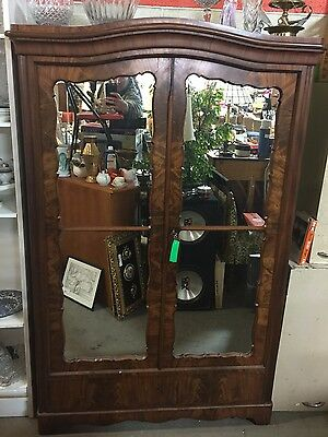 Antique Mirror Armoire Cabinet WALNUT Wood 2 Door FRENCH Style w/ Shelves Vtg
