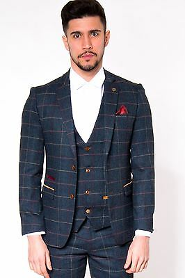 Mens Marc Darcy Designer Navy Check Tweed Blazer Country Style Jacket