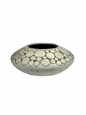 CHINESE Studio Crafted Modernist Pottery Bowl Vase w/ Circle Design SIGNED