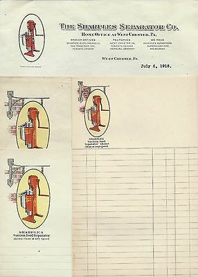 1918~Sharples Suction Feed Separator~Dairy~Cream~West Chester, PA~Letterhead ++