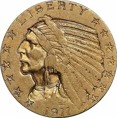 1911-S $5 Indian Gold, Choice XF to AU, Problem-Free