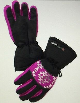 NWT 3M Thinsulate Swiss Tech Girls Metallic Geo Prism Orchid & Black Ski Gloves