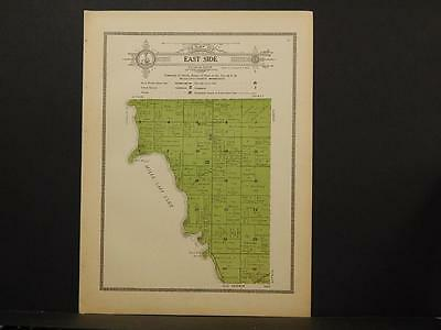 Minnesota Mille Lacs County Map East Side Township 1914 Dbl pg Y7#46