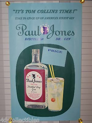 Vintage advertising poster for PAUL JONES Distilled Dry Gin Tom Collins Time