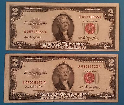 Lot of 2 1953 United States $2 Red Certificate Note