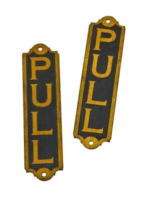 "2 MATCHING NEW OLD STOCK 1920s ENTRANCE DOOR ""PULL"" SIGNS W/ BLACK ENAMEL FINISH"