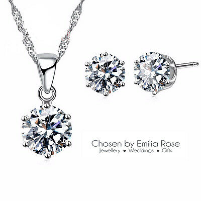 925 Bridesmaid Jewelry Set, Crystal Necklace & Earrings Wedding Bridal Jewellery