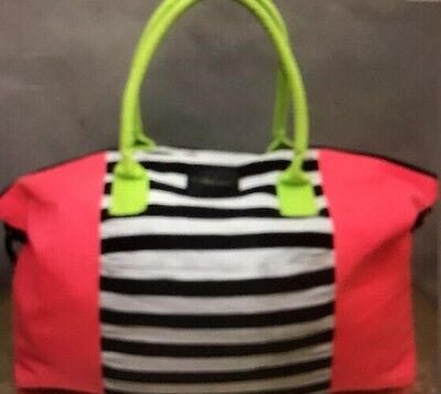 Victorias Secret Neon Gym Duffel Overnight Beach Tote Weekend Travel Bag, NEW