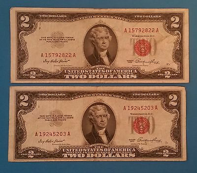 1953 United States $2 Red Certificate Note Set of 2
