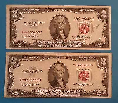 Lot of 2 - 1953 A United States $2 Red Certificate Note