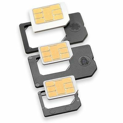 Nano SIM Adapter PREMIUM SET 3er MADE IN GERMANY für z.B. iPhone 5/6/7 Simkarten