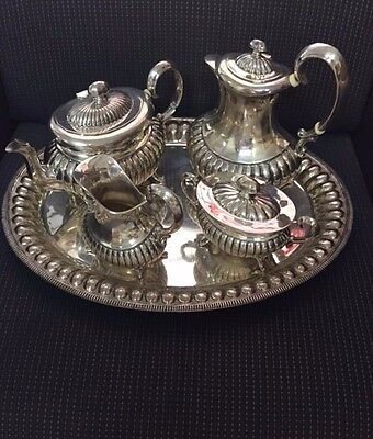 800 European Silver 5 Piece Coffee/Tea Set with Matching Tray