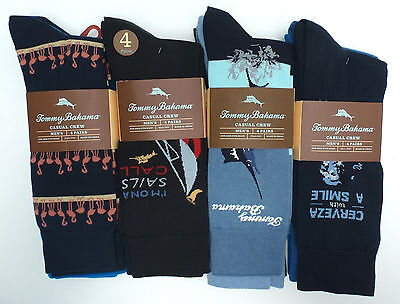 TOMMY BAHAMA Men's Casual Crew Socks *4 Pair Variety *Black/Blue *One Size *New