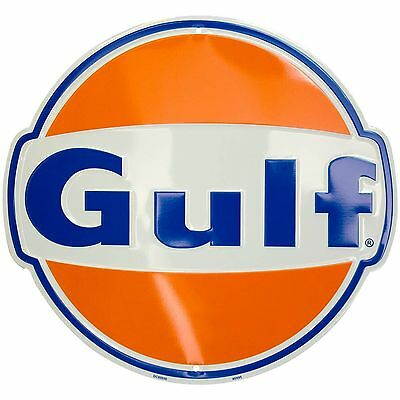 Gulf Oil Service Gas Station Aluminum Metal Die Cut Embossed Bar Sign Wall Decor